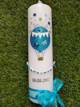Taufkerze TK105-1 Heißluftballon in Türkis-Hellblau-Dunkelblau-Apfelgrün Holoflitter /Vogel