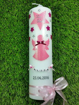Taufkerze SK156-2 SCHUTZENGEL Rosa-Pink Holoflitter / Satin-Organzaschleife
