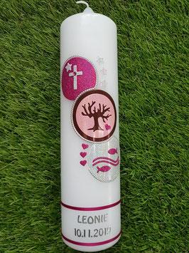 Taufkerze Kreise TK431 Pink-Rosa-Braun-Silber Holoflitter/ Bänder Pink