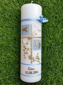 Taufkerze TK110 Klassisch Hellblau Flitter mit Gold / Goldschrift