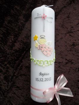 Taufkerze SK152 Kreuz mit SCHUTZENGEL Rosa / Silberschrift