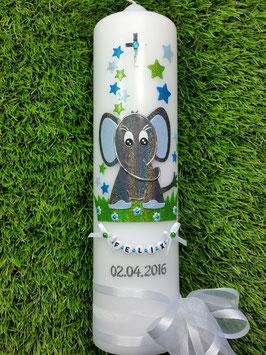 Taufkerze Elefant TK210-8 Anthrazit-Türkis-Hellblau Holoflitter / Schleife Weiß