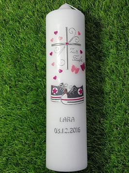 Taufkerze TK099 Babychucks Pink-Rosa-Anthrazit Flitter / Silberschrift