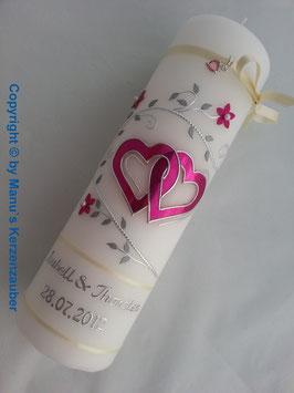 Hochzeitskerze Pink-Creme HK204 Klassisch