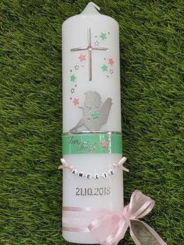 Taufkerze SK154-1 SCHUTZENGEL Pastellgrün-Rosa Holoflitter / Buchstabenkette