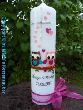Hochzeitskerze Verliebte Eulen HK216-2 Braun-Rosa Flitter & Kreuz!