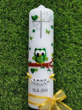 Taufkerze EULE das Original mit Buchstaben-Kette TK181 in Grün-Apfelgrün Flitter & Gelbe Schleifen