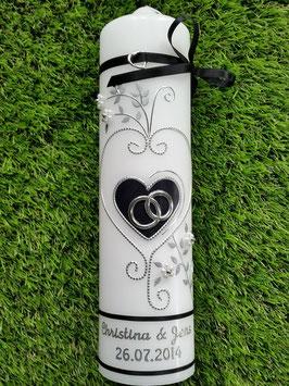Hochzeitskerze klassisch HK208 Schwarz Uni-Silber