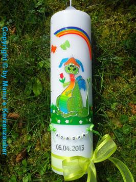 Taufkerze TK270 Lustiger Drache Apfelgrün-Regenbogen
