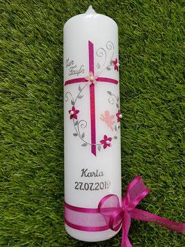 Taufkerze TK102-5 Klassisch Rosa-Pink Holoflitter / Ohne Herz mit Engel