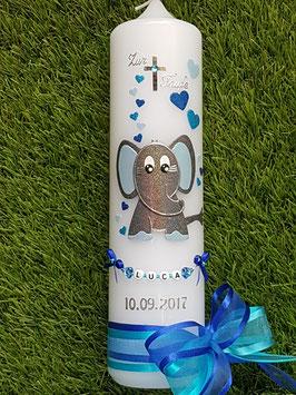 Taufkerze Elefant TK210-8 Anthrazit-Türkis-Hellblau-Dunkelblau Holoflitter mit Herzen/Doppelschleife