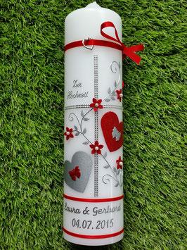 Hochzeitskerze HK109 Rot Holoflitter mit Silber