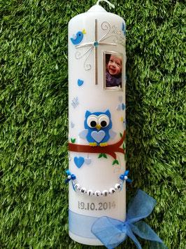 Taufkerzen Junge Foto EULE das Original mit Buchstaben-Kette TK181  in Lichtblau-Hellblau Uni