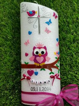 Taufkerze EULE das Original Oval Perlmutt Gebürstet TK181 in pink-rosa-türkis Holoflitter