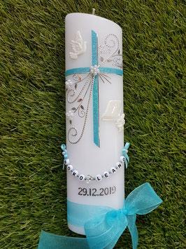 Taufkerze TK130 sehr edel in Pastellblau mit Bibel & Taube