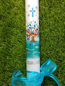 Kommunionkerze  Lebensbaum KK420 Türkis-Hellblau-Dunkelblau-Apfelgrün Holoflitter
