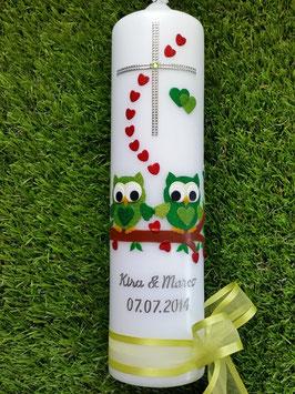 Hochzeitskerze Verliebte Eulen HK216-1 Apfelgrün-Grün mit Ringe!