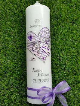Hochzeitskerze LOVE HK114 Weiß Holoflitter mit Brombeerlila & Silber