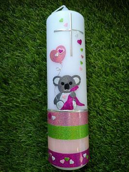 Taufkerze Koala TK217-U Fuchsia-Apfelgrün-Zartrosa-Pink Holoflitter mit Herzen