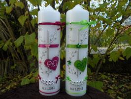 Zwillings Taufkerzen ZW-TK102 Klassisch Pink & Apfelgrün