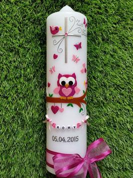 Taufkerze EULE das Original mit Buchstaben-Kette TK181 in pink-rosa Flitter