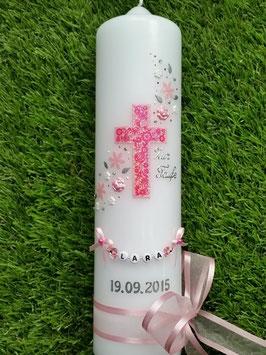 Taufkerze Kreuz Blumenwind TK230 Rosa-Pink