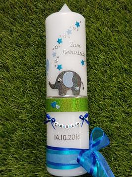 Taufkerze Elefant TK210-4  Anthrazit-Hellblau-Türkis Holoflitter mit Dunkelblau / Sterne & Luftballon