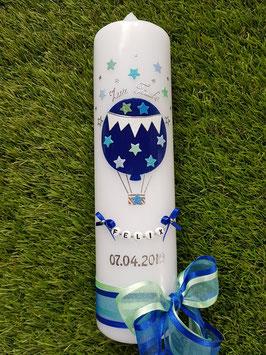 Taufkerze TK105 Sterne Heißluftballon in Dunkelblau Uni & Hellblau-Pastellblau-Pastellmint-Lichtblau Holoflitter