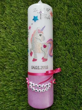 Taufkerze Einhorn TK265-U Silber-Rosa-Pink-Flieder-Türkis Holoflitter