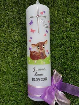 Taufkerze Bambi liegend TK188-2 Braun-Rosa-Flieder Holoflitter mit Silberschrift