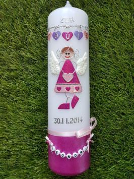 Taufkerze Schutzengel kerze SK118-1-U Pink-Rosa-Flieder Hololfitter