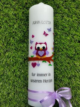 Trauerkerze Eule TRK180 in Violett-Flieder UNI