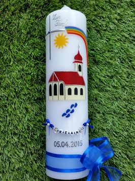Taufkerze TK210 Kirche mit Zwiebelturm Dunkelblau Flitter