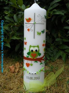 Taufkerze EULE das Original mit Buchstaben-Kette TK181 in Apfelgrün-Orange-Grün Flitter