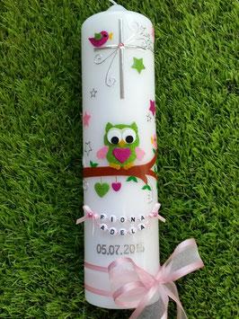 Taufkerze EULE das Original TK181 mit Sternen in Apfelgrün-Rosa-Pink Holoflitter