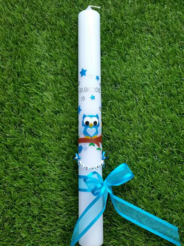 Kommunionkerze EULE das Original KK181 Türkis-Hellblau Holoflitter