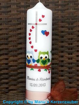 Hochzeitskerze Verliebte Eulen HK216 Hellblau-Apfelgrün Flitter mit Kreuz