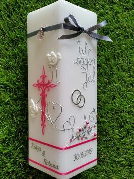 Hochzeitskerze Wir sagen Ja! HKS208 Fuchsia Holoflitter & Silber Bänder