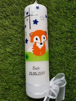 Taufkerze TK209 Fuchs Orange-Weiß-Dunkelblau-Grün Uni mit Sterne / Bänder Weiß