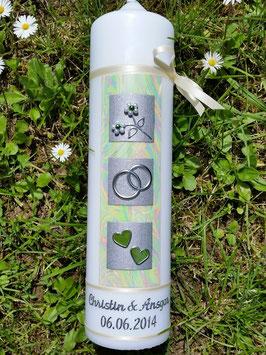 Sehr edle Hochzeitskerze HK209 Creme-Grün-Silber mit Perlblumen