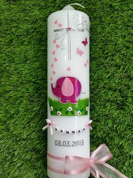 Taufkerze Elefant TK210-1 & Buchstabenkette Pink-Rosa Flitter