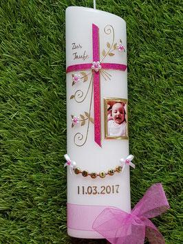 Taufkerze TK130 sehr edel mit Foto Gold/Pink Holoflitter / Buchstabenkette Gold