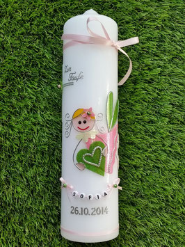 Taufkerze SK116 Schutzengel Mädchen Rosa-Apfelgrün Flitter & Buchstabenkette