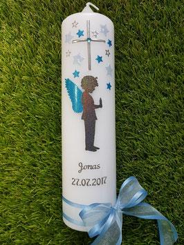 Taufkerze SK154-3 SCHUTZENGEL Junge Anthrazit-Hellblau Glitzer-Türkis / Flügel Türkis