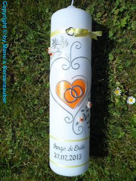 Hochzeitskerze HK208 Klassisch Hellgelb-Orange Flitter