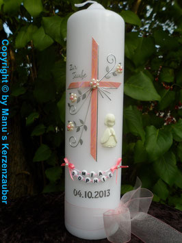 Taufkerze TK130 sehr edel in Rosa Marmoriert / Engel in weiß