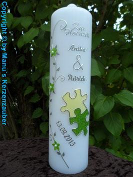 Hochzeitskerze Puzzle HK219 Apfelgrün-Creme Flitter-Silber