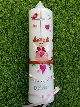 Taufkerze SK155 SCHUTZENGEL Rosa-Pink Holoflitter mit Buchstabenkette / schmale Satinschleife