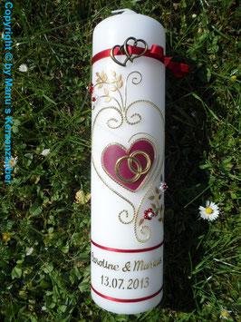 Hochzeitskerze klassisch HK208 Bordeaux Uni-Gold