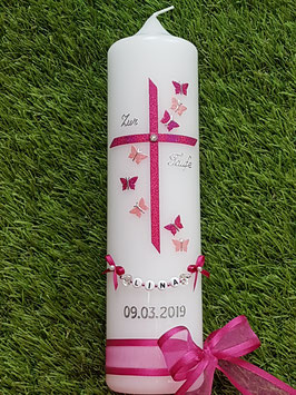 Taufkerze Regenbogen Schmetterlinge TK190 Pink-Rosa Holoflitter